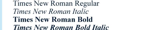 Times New Roman font sample